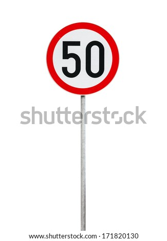 Round speed limit road sign isolated on white - stock photo
