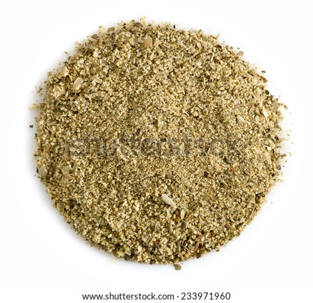 round spice mix isolated on a white background - stock photo