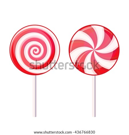 Round Spiral Candy Lollipop. Red and White on Stick. illustration