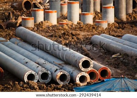 round spun pile : construction foundation work - stock photo