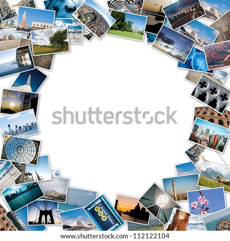 Round stack of travel images from the world with copy space in the center. - stock photo
