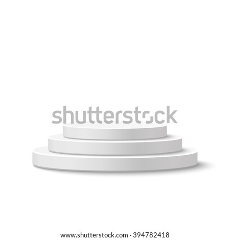 Round stage podium, pedestal isolated on white background.