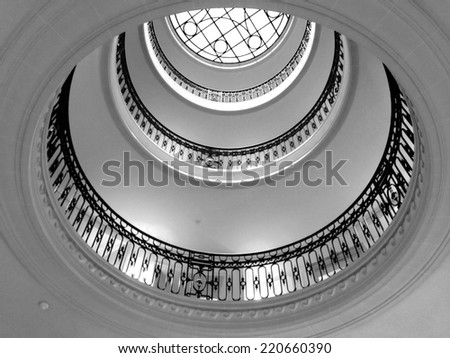 round stairs balcony with skylight  - stock photo