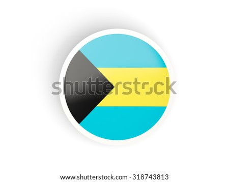 Round sticker with flag of bahamas isolated on white