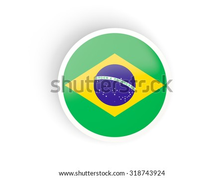 Round sticker with flag of brazil isolated on white - stock photo