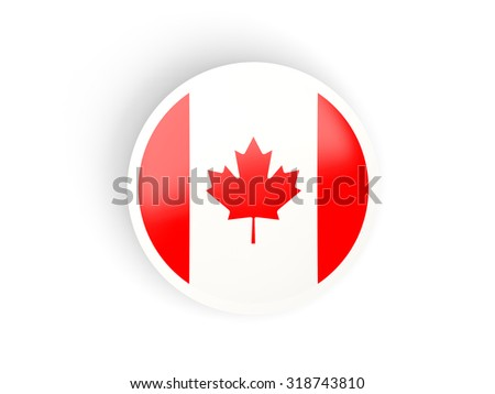 Round sticker with flag of canada isolated on white - stock photo