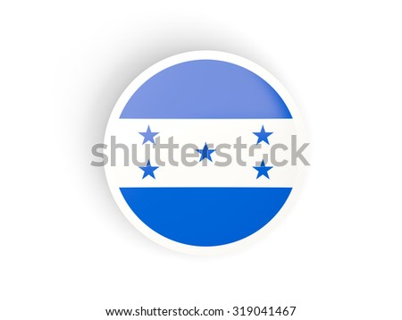 Round sticker with flag of honduras isolated on white