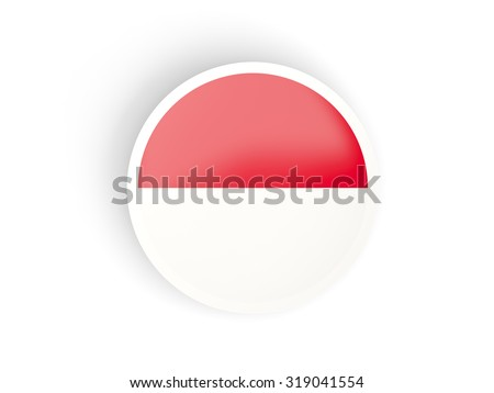 Round sticker with flag of indonesia isolated on white - stock photo