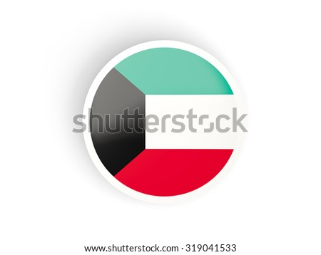 Round sticker with flag of kuwait isolated on white