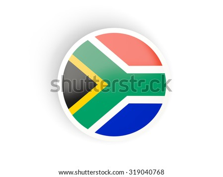 Round sticker with flag of south africa isolated on white - stock photo