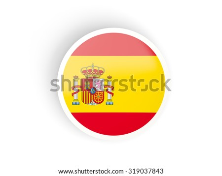 Round sticker with flag of spain isolated on white