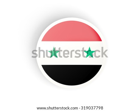 Round sticker with flag of syria isolated on white - stock photo