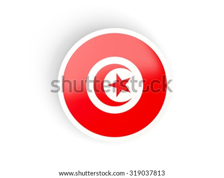 Round sticker with flag of tunisia isolated on white