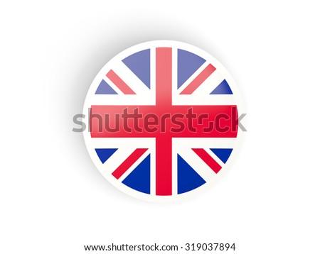 Round sticker with flag of united kingdom isolated on white - stock photo