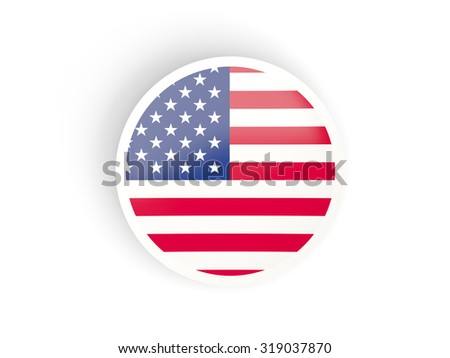 Round sticker with flag of united states of america isolated on white - stock photo