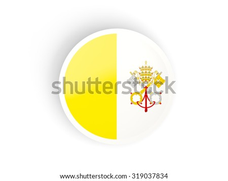 Round sticker with flag of vatican city isolated on white - stock photo