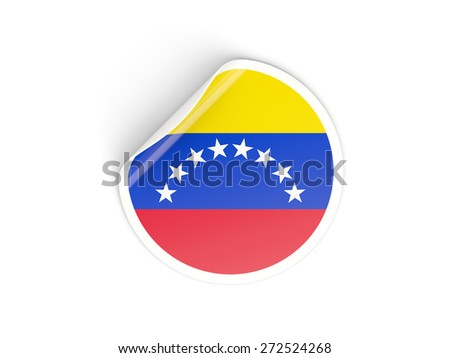 Round sticker with flag of venezuela isolated on white - stock photo