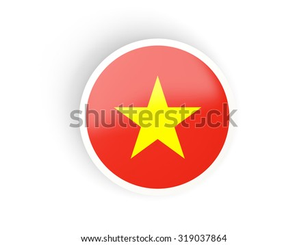 Round sticker with flag of vietnam isolated on white - stock photo