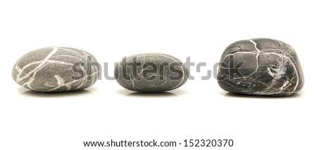round stones isolated on white background - stock photo