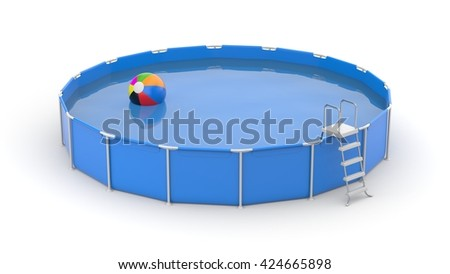Round swimming pool with ball. 3d illustration - stock photo