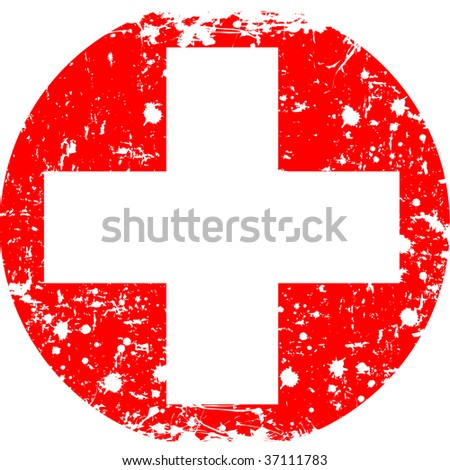 Round Swiss flag in retro style - stock photo