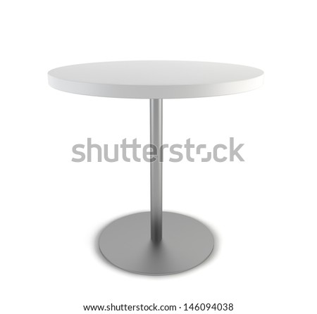 Round table. 3d illustration on white background