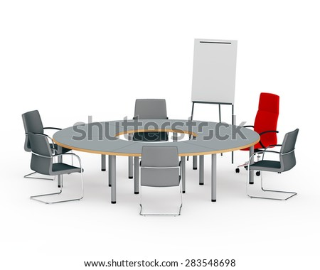 round table for negotiations about flip chart - stock photo