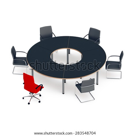 round table for negotiations with chairs, one red chair of the leader - stock photo