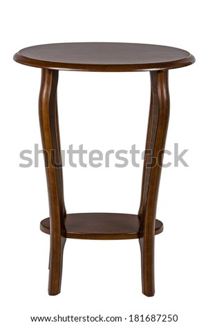 Round table, isolated on white background, with clipping path - stock photo