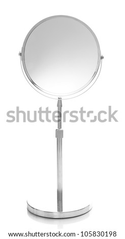 Round table mirror isolated on white
