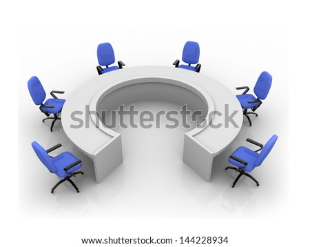Round table with chairs - stock photo