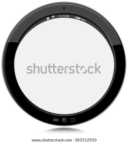 Round Tablet Computer Isolated on White / Round black tablet computer with empty white screen. Isolated on white background - stock photo