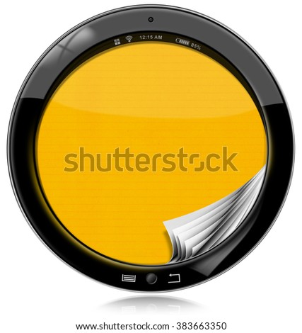 Round Tablet Computer Isolated on White / Round black tablet computer with empty yellow pages in the screen. Isolated on white background - stock photo