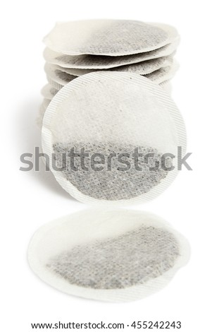 Round Tea Bags. Isolated with clipping path.