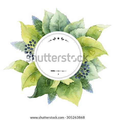Round template with green leaves and place for text. Watercolor illustration - stock photo