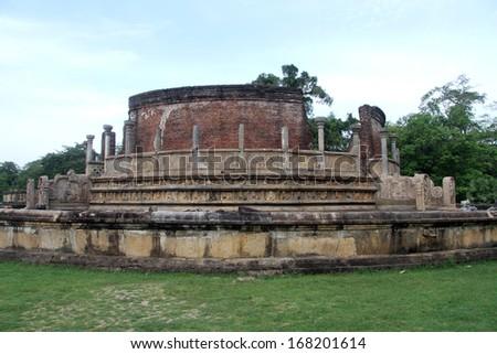Round temple Vatadage in Polonnaruwa, Sri Lanka - stock photo