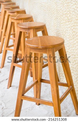 round top maka wood stool - stock photo