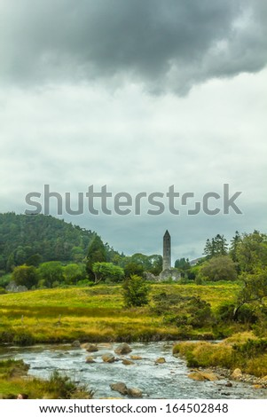 Round Tower, Glendalough, County Wicklow, Ireland - stock photo