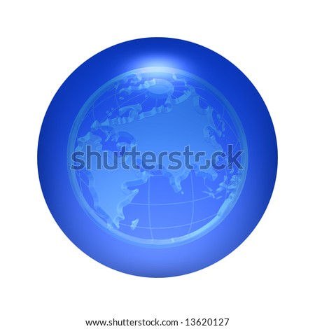 Round transparent world icon button over blue