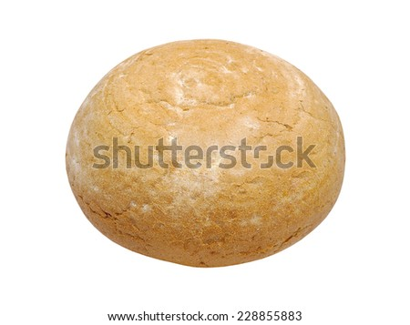 Round warm fresh bread isolated on white background.