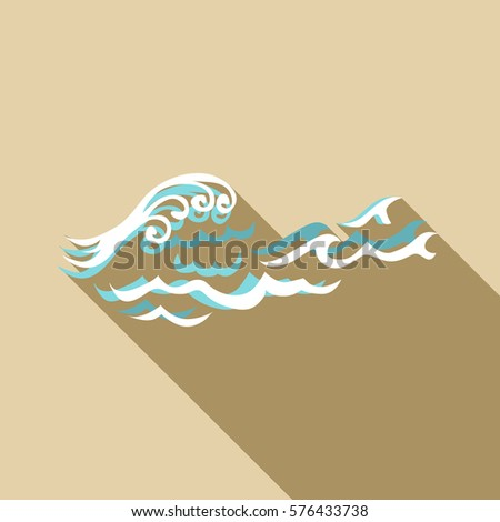 Round wave icon. Flat illustration of round wave  icon for web