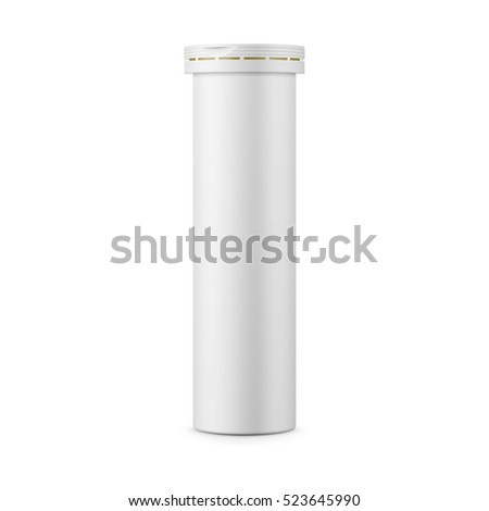 Round white matte aluminum tube with cap for effervescent or carbon tablets, pills, vitamins. Realistic packaging vector mockup template. Side view.
