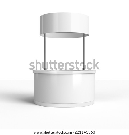 round white stand or booth in a trade show. 3d render - stock photo
