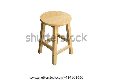 Round Wooden Chair Without A Backrest, Isolated On White Background. (Light  From Right