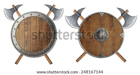 round wooden knight shield and two crossed battle-axes set - stock photo
