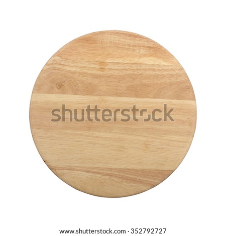 Round wooden tray salver isolated over the white background