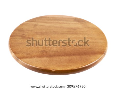 Round wooden tray salver isolated over the white background, side view