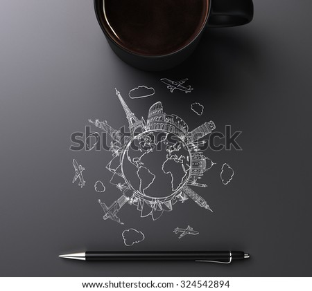 Round world concept with travel marks, pen and cup of coffee - stock photo