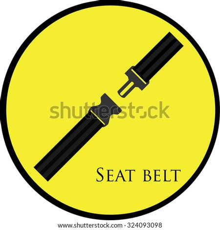 Round, yellow sign with seat belt raster isolated. Safety belt symbol, security belt sign. - stock photo