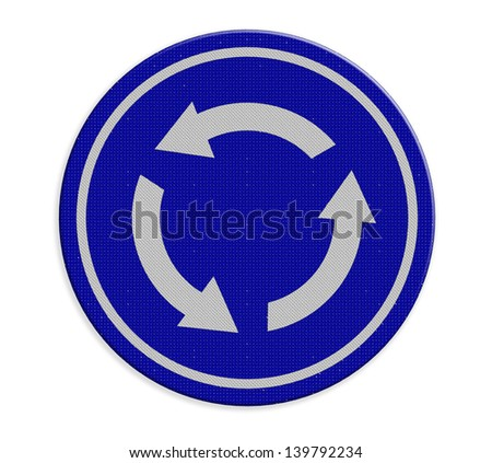Roundabout crossroad road traffic sign - stock photo